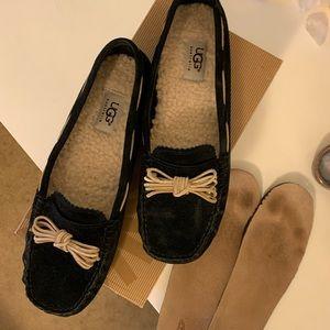 Ugg Meena II black suede loafers size 8.5